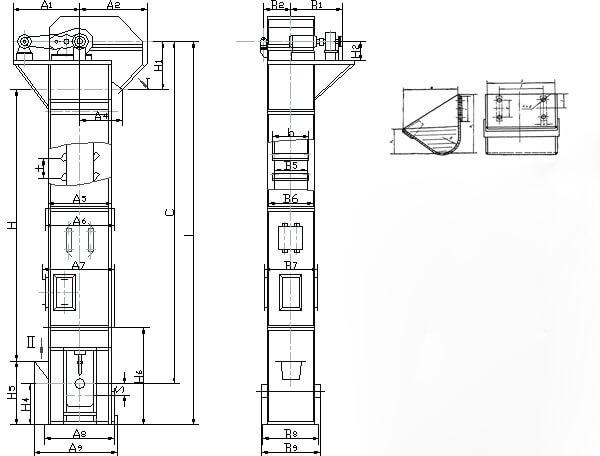 bucket elevator parts length